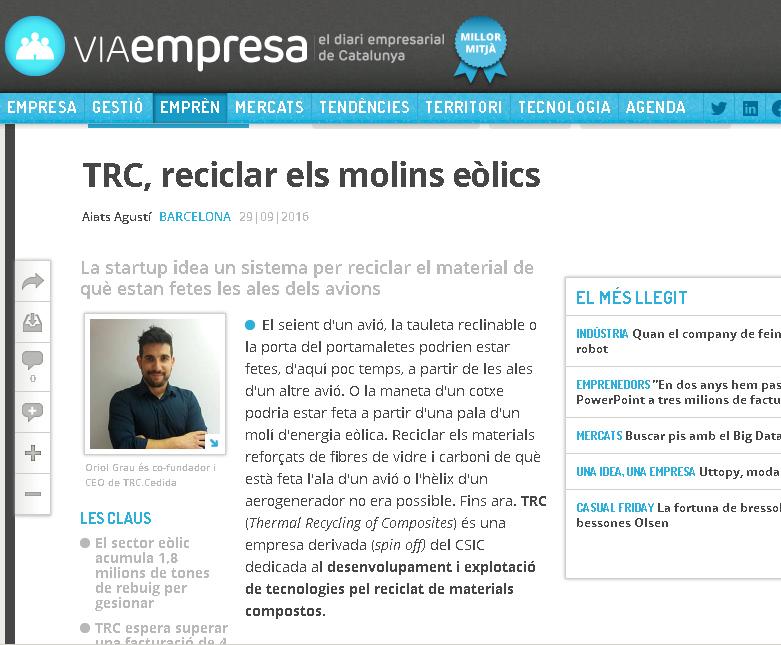 TRC IN VIAEMPRESA.CAT, BUSINESS NEWSPAPER